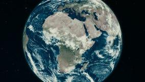 Conecte a tierra girando, el mundo que hace girar, rotación completa, planeta realista que cumple 360 grados ilustración del vector