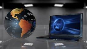 Conecte a tierra la rotación y la abertura del ordenador portátil, cantidad común del globo ilustración del vector