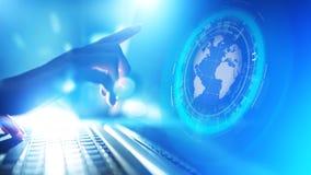 Conecte a tierra la telecomunicación mundial de Internet del negocio del planeta del holograma y el concepto moderno de la tecnol foto de archivo