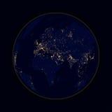 Conecte a tierra las luces de la esfera de las ciudades África, Europa y Asia Vector stock de ilustración