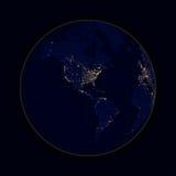 Conecte a tierra las luces de la esfera del norte y de Suramérica de las ciudades Vector stock de ilustración