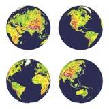 Conecte a tierra los globos geográficos en estilo polivinílico bajo en diversas posiciones Fotografía de archivo