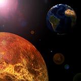 Conecte a tierra y los planetas alrededor del sol en el centro. Foto de archivo libre de regalías