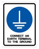 Conecte um terminal da terra ao sinal ? terra do s?mbolo, ilustra??o do vetor, isolada na etiqueta branca do fundo EPS10 ilustração royalty free
