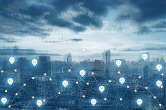 conectividade da tecnologia 5G no fundo de uma comunicação do mundo da cidade fotos de stock
