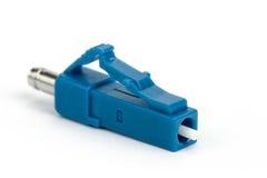 Conector azul del LC de la fibra óptica Foto de archivo libre de regalías