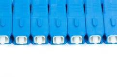 Conector azul del SC de la fibra óptica Fotos de archivo