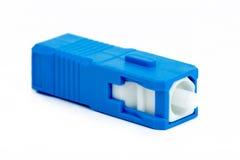 Conector azul do SC da fibra ótica Imagem de Stock