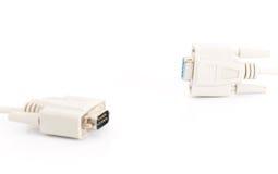 Conector de cabo da entrada de VGA no fundo branco Foto de Stock
