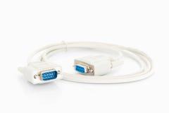 Conector de cabos de VGA com cabo branco Fotografia de Stock