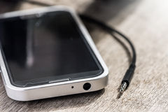 conector del smartphone del conector mini de los auriculares Fotografía de archivo libre de regalías