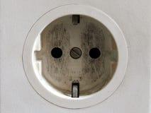 Conector europeo usado viejo del blanco de la oficina Fotografía de archivo libre de regalías