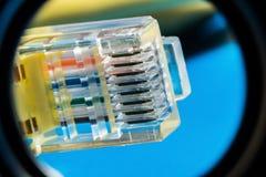Conector plástico para la conexión a una red de ordenadores, fondo macro fotos de archivo libres de regalías
