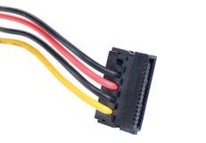 Conector y cable de potencia aislados en el blanco Imagen de archivo