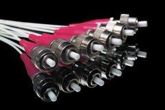 Conectores ópticos de fibra con la reflexión Fotografía de archivo