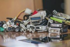 Conectores audio e video múltiplos fotografia de stock
