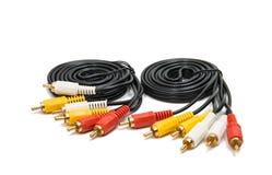 Conectores audio video isolados fotografia de stock