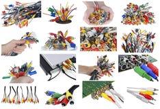 Conectores, cabos diferentes e tomadas ajustados fotografia de stock