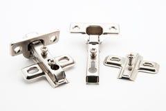 Conectores da dobradiça de porta da mobília imagem de stock