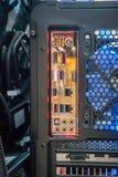 Conectores da parte traseira de um mainboard do computador imagem de stock royalty free