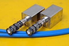 Conectores usados de BNC imagem de stock royalty free