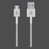 Conectores de cabo brancos do usb do vetor Imagem de Stock Royalty Free