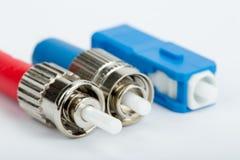 Conectores de la fibra óptica, ST, SC y FC Imagenes de archivo