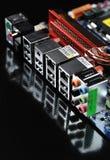 Conectores de la placa madre del ordenador Fotos de archivo