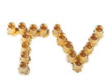 Conectores de oro de F aislados en el fondo blanco. y palabra de la TV. fotografía de archivo libre de regalías