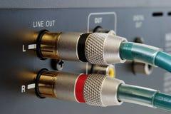 Conectores de oro del RCA Imagen de archivo libre de regalías
