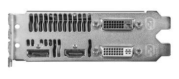Conectores de placa de vídeo do computador fotografia de stock