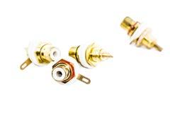 Conectores de RCA no fundo branco Imagens de Stock Royalty Free
