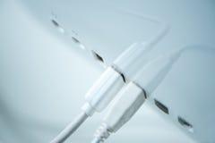 Conectores de USB uma parte traseira do PC Fotografia de Stock Royalty Free