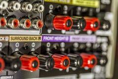 Conectores del amplificador fotografía de archivo
