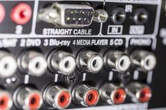 Conectores del amplificador imagen de archivo