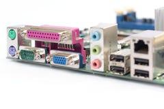 Conectores del mainboard del ordenador Imagenes de archivo