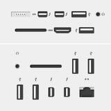 Conectores del ordenador con los iconos Imágenes de archivo libres de regalías