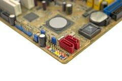 Conectores del panel de delante en la placa madre del ordenador Foto de archivo