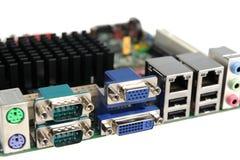 Conectores do fim do cartão-matriz do seu computador imagem de stock royalty free