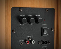 Conectores e botões do orador audio profissional Fotos de Stock Royalty Free