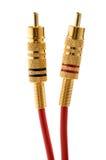 Conectores e cabos de bronze de RCA Fotografia de Stock Royalty Free