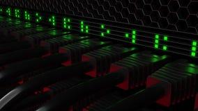 Conectores múltiples y centelleo LED verde del patchcord Red, tecnología de la nube o conceptos modernos del centro de datos 3d Foto de archivo libre de regalías