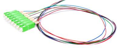 Conectores verdes do SC da fibra ótica no fundo branco imagens de stock royalty free