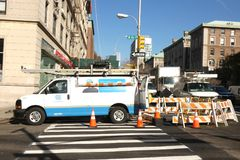 ConEd Repairs. Consolidated Edison does repairs on Broadway, in New York City. ConEd is one of the largest energy companies in the United States stock photography