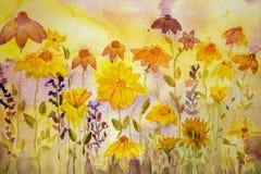 Coneflowers、万寿菊和淡紫色 图库摄影