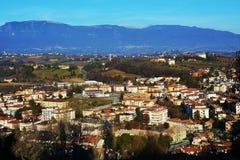 Conegliano city, view from the Castello. Panoramic view to Conegliano Veneto, houses and colorful buildings, on Colle di Giano, in Veneto, Treviso Stock Photo