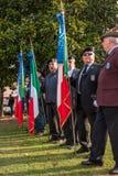 Conegliano Italien - Oktober 13, 2017: Åminnelseceremoni på monumentet till de stupade soldaterna Veteran och Royaltyfria Bilder