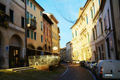 Conegliano street and restaurant,Treviso province Stock Photos