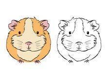 Conejillo de Indias colorido lindo regordete, dibujo blanco y negro de los gráficos de vector del bosquejo stock de ilustración