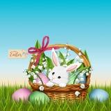 Conejito adorable en cesta de mimbre Fondo de la primavera de Pascua stock de ilustración